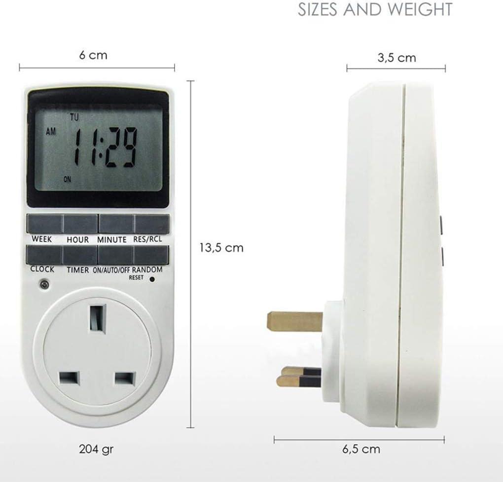 Bomcomi 12//24 Hours//7 Days Electronic Digital Timer Switch Home Kitchen Timer Outlet Programmable Timing Socket UK Plug
