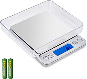 Xfuguir Digital Kitchen Scale, 1000g/ 0.1g Multifunction Food Meat Scale for Cooking and Baking, Mini Digital Kitchen Weight Gram and Oz with LCD Display, Stainless Steel(Battery Included) - Silver