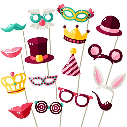Party Photo Booth Props - Easy Assembly - Mix of Hats, Lips, Crowns, Mustaches and More (16 pcs) - Durable and Vibrant - Perfect for Birthday Parties, Weddings and More]()