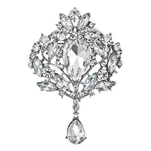 JewelryHouse White Gorgeous Austrian Imitation Crystal Rhinestone Wedding Brooch Pin (Rhinestone Brooch)