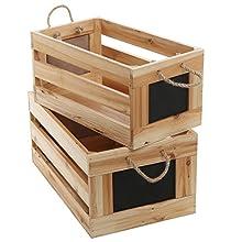 Natural Wood Finish Nesting Boxes / Multipurpose Storage Crates w/ Erasable Chalkboard Signs, Set of 2