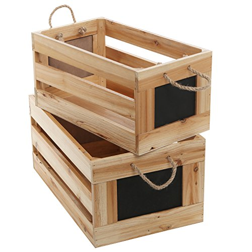Natural Wood Finish Nesting Boxes / Multipurpose Storage Crates w/ Erasable Chalkboard Signs, Set of 2