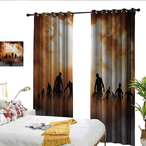 Perfectble Halloween Zombies Dead Men Walking Body in The Doom Mist at Night Sky Haunted Theme Print Orange Black Jacquard Curtain -