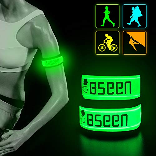 BSEEN LED Armband 2 Pack LED Slap Bracelets, Adjustable Strap Safety Light Armbands Glow in The Dark Night Running Gear for Jogging, Walking, Cycling, Camping Outdoor Sports (Green) (Strap Slap Reflective)