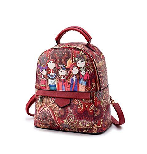 Red Piccoli Superiore Vintage Stampa Antifurto Fashion Scuola Eleganti Skitor Zaino Impermeabile Ragazze Zaini Donna Leggero Casual Pelle XUFwaxR