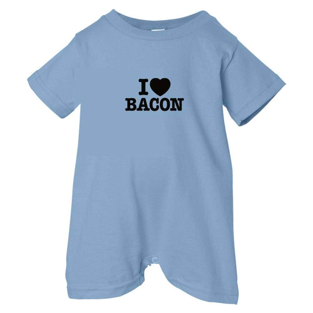 Bacon Tasty Threads Unisex Baby I Love Heart T-Shirt Romper Lt. Blue, 6 Months Black Print