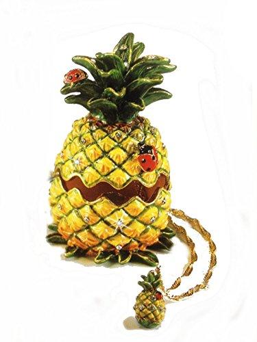 Pineapple and Ladybug Bejeweled Trinket Box