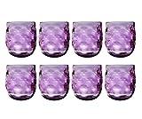 QG 14 oz. Clear Colorful Acrylic Plastic Wine Rock Glass Tumbler Set of 8 Purple