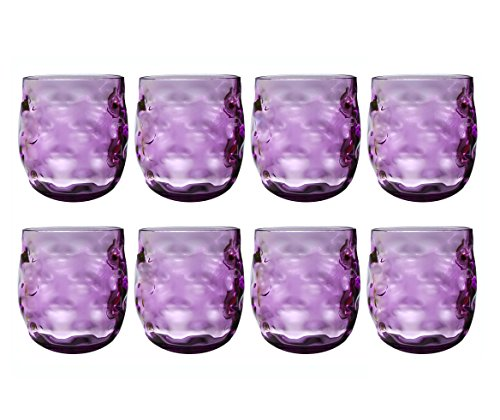 QG 14 oz. Clear Colorful Acrylic Plastic Wine Rock Glass Tumbler Set of 8 ()