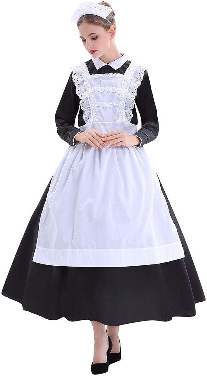 Disfraz de sirvienta de Granja de Halloween para Mujer Traje de Disfraz de Cocinero de Escenario de Halloween Festival de Mascarada Maquillaje(Negro,XL): Amazon.es: Ropa y accesorios