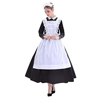 FRAUIT Vestido Vintage Mujer Vestido de Sirvienta Traje de ...