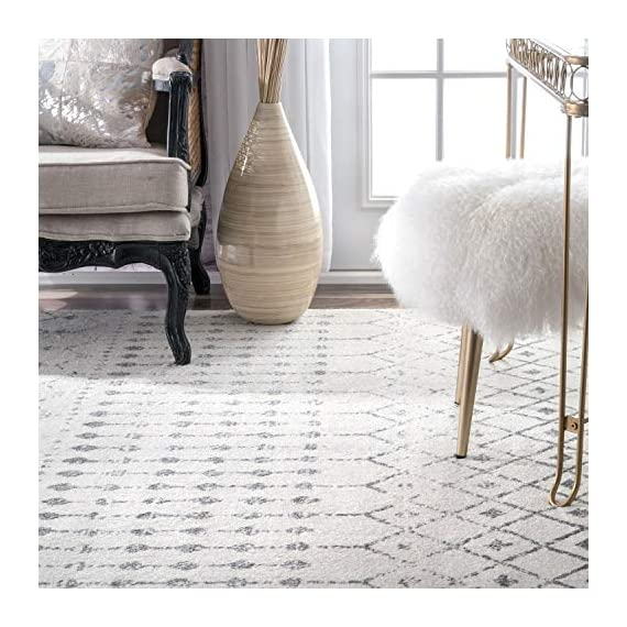 """nuLOOM Moroccan Blythe Runner Rug, 2' 8"""" x 8', Grey/Off-white - Made in Turkey PREMIUM MATERIAL: Crafted of durable synthetic fibers, it has soft texture and is easy to clean SLEEK LOOK: Doesn't obstruct doorways and brings elegance to any space - runner-rugs, entryway-furniture-decor, entryway-laundry-room - 51uQLCILhNL. SS570  -"""