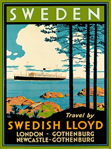 (A SLICE IN TIME Sweden Travel by Swedish lloyd Scandinavia Scandinavian Vintage Oceanliner Cruise Ship Travel Home Collectible Wall Decor Advertisement Art Poster Print. Measures 10 x 13.5 inches)