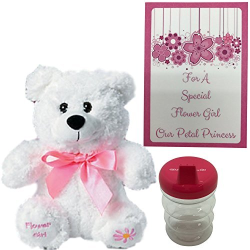 Flower Girl Gifts For Toddler Girls-Adorable Plush Flower Girl Teddy Bear and Petal Princess Sippy Cup ()