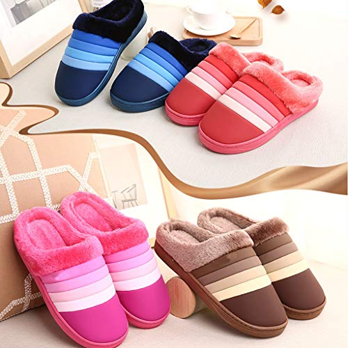 Indoor slip Warm Home Waterproof Bottom Pink With Bag Leather Aminshap Non Cotton Thick Women's Slippers ROqv7gO