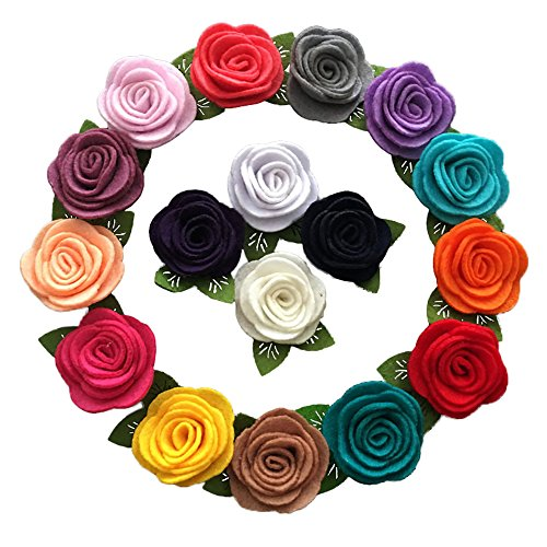 Yazon 32pcs Mini Felt Rose Flower With Leaf Without Clips Baby Girls Hair -