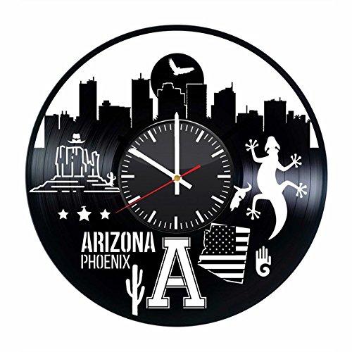 Phoenix Arizona USA City Skyline Vinyl Record Wall Clock, America Handmade Gift Idea for Any Occasion, Original Home Room Kitchen Decor Vintage Modern -