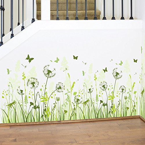 WMdecal Removable Wall Sticker Peel and Stick Green Grass Dandelion and Butterfly Wall Decal for Living ()