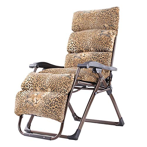 (ZHAOYONGLI Chairs, Folding Chairs, Recliners Folding Chair Lunch Break Chair Office Back Lazy Chair Home Beach Portable Chair (Color : Leopard pad) )