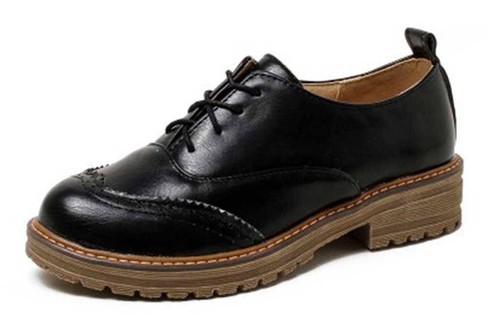 Easemax Femme Mode Bout Rond Brogue Talon Bloc 19962 Brogue Bloc Richelieus Noir 18212f9 - reprogrammed.space