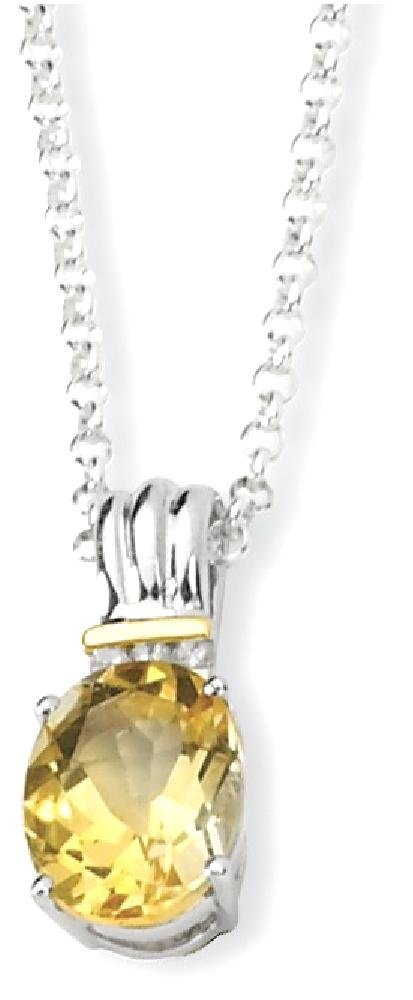 ICE CARATS 925 Sterling Silver 14k Yellow Citrine Diamond Chain Necklace Gemstone Fine Jewelry Gift Set For Women Heart