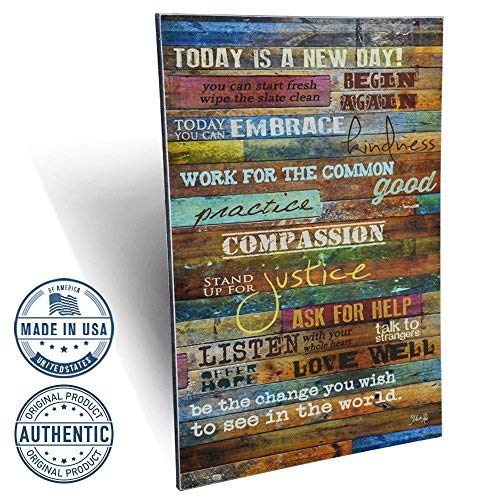 Marla Rae Inspirational Quotes Wall Art - Today is a New Day 12 x 18 (Earth - Art Plaque Wall Inspirational