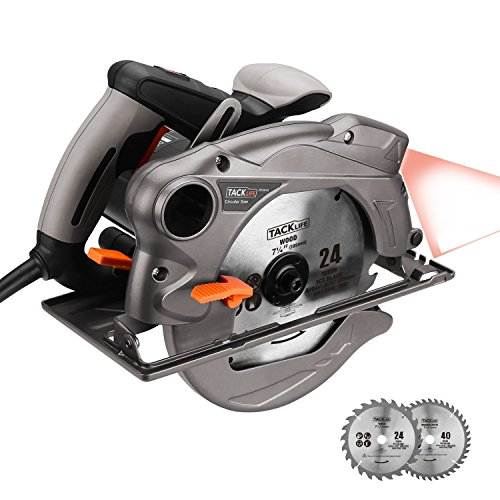 "Circular Saw 7-1/4"", 4500rpm, Tacklife Saw with Lightweight Aluminum Guard, Laser Guide, 2 Blades, Max Cutting Depth 2-1/2'' (90°), 1-4/5'' (0°- 45°) - PES01A"
