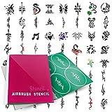 PointZero Temporary Tattoo Airbrush Stencils 100 Designs - Book 7 by PointZero