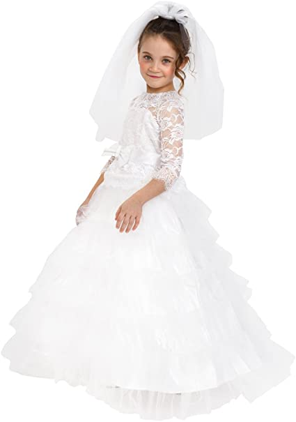 Dress up America Girls Bridal Princess Pretty Little Wedding Dress Costume