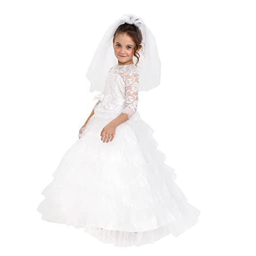 ea24c61215 Dress Up America Girls Dreamy Bride Dress Little Girl Wedding Bridal  Costume Outfit