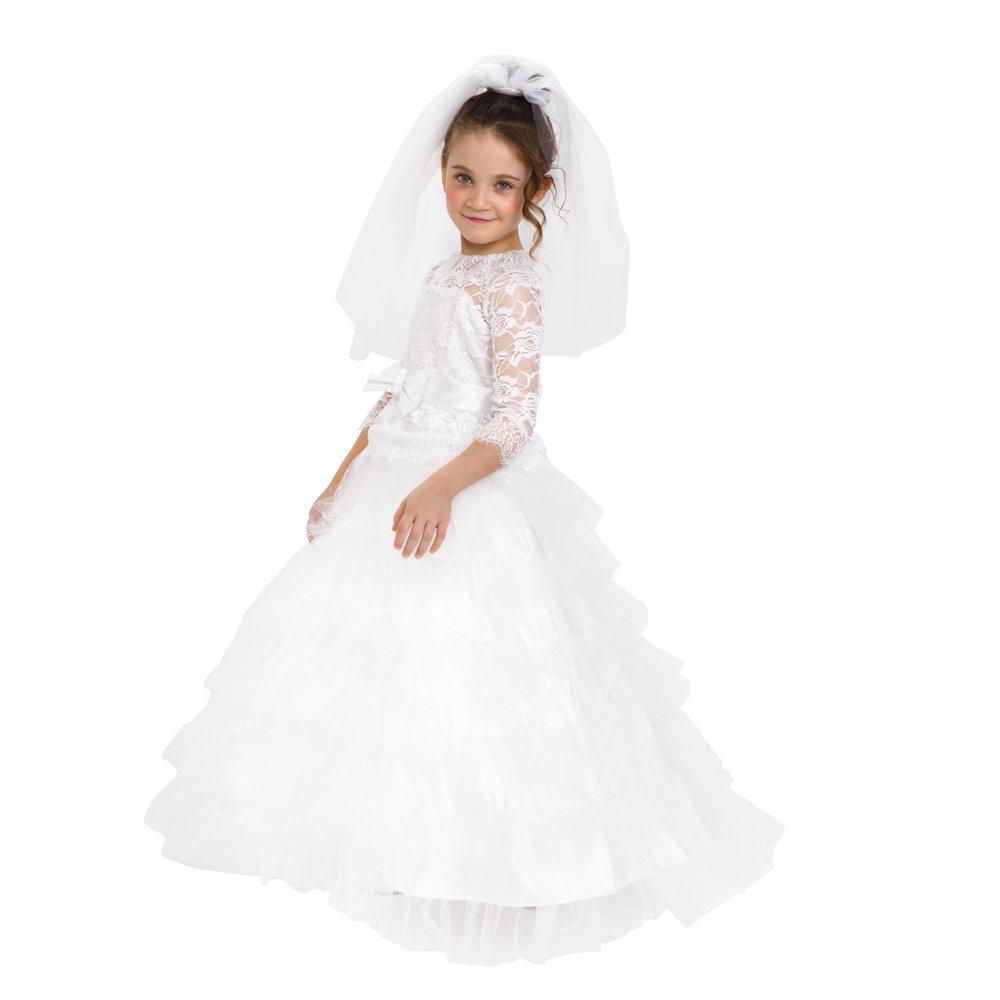 Dress Up America Girls Dreamy Bride Dress Little Girl Wedding Bridal Costume Outfit