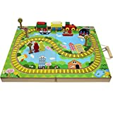 Deluxe Wooden Train Track Set ,In Wooden Take Along Case With Built in Railway Tracks (16 Pieces)