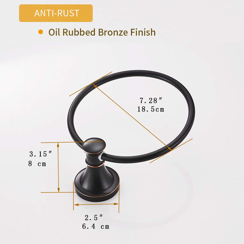BESy Oil Rubbed Bronze Bathroom Hand Towel Ring Towel Holder Wall Mounted Bathroom Hardware Accessory