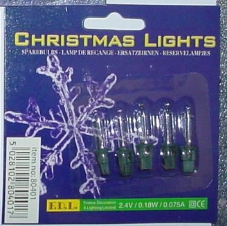 S35 MRS CHRISTMAS Pack of 5 Clear Push In Spare Fairy Bulbs 2.4v 0.18w 0.075a