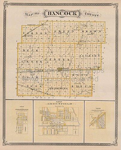Muncie Hancock County Indiana Vintage Map Baskin 1876 Authentic Indiana Decor History Gift Ideas