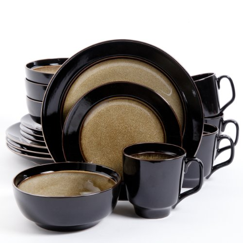 Gibson Bella Galleria 16 Piece Dinnerware Set, Taupe/Black