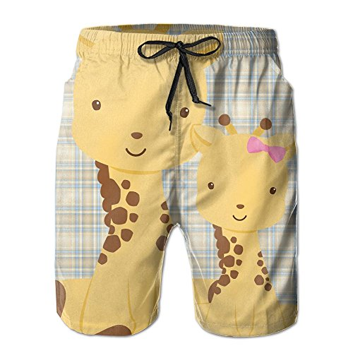 Patrick Star Costume Shorts (Giraffe Momand Baby Men's Beach Shorts Printing Quick Dry Polyester Pants With Tow Pockets)