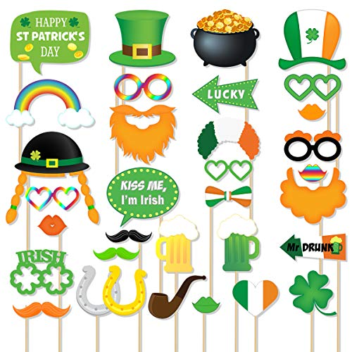 St Patricks Day Photo Booth Props - 33 Count Large Fun Selfie Photoshoot Kit, Irish Shamrock Party Decoration Supplies, Gifts for Kid Adult Birthday Photography, Green Dress up Favors Accessories