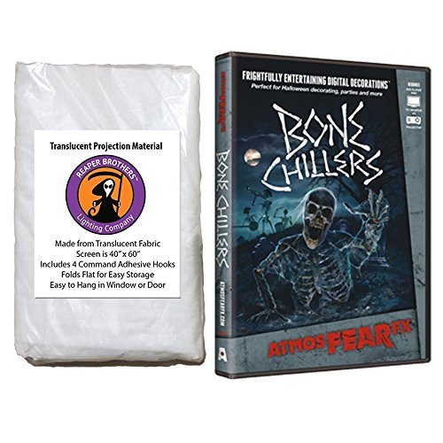 Kringle Bros AtmosFearFX Bone Chillers Halloween DVD Reaper Brothers High Resolution Window Projection Screen -