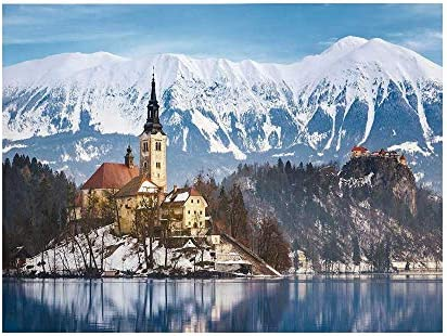 Amazon Com Winter Photography Background Lake Bled In
