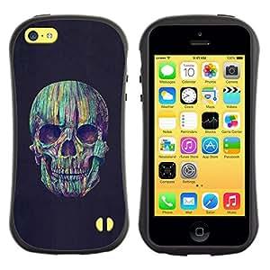 LASTONE PHONE CASE / Suave Silicona Caso Carcasa de Caucho Funda para Apple Iphone 5C / Skull Colorful Crayon Black Night