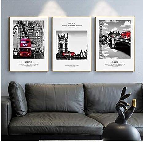LYFCV Noir Blanc Ville Paysage Mur Art Toile Bus Rouge ...