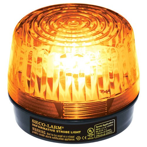 Seco-Larm Enforcer LED Strobe Light with Built-In Programmable Siren, Amber ()