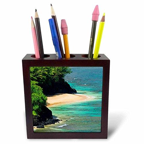 3dRose Danita Delimont - Coastlines - Hideaways Beach, Princeville, Island of Kauai, Hawaii, USA - 5 inch tile pen holder (ph_278946_1) by 3dRose