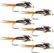 The Fly Fishing Place Bead Head Black Copper John Nymph Fly Fishing Flies - Set of 6 Flies Hook Size 14