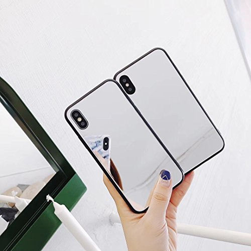 KIMICO case for iPhone X, Tempered Glass Mirror Case [High Clarity + 0% Distortion Mirror] Soft TPU Bumper + Glass Back Cover [Anti-Scratch] for Makeup, Touch up and Back Camera Selfies (Rumination X)