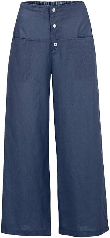 MOVERV-Pantalones Ancho de Lino & Algodón Mujer, Tallas Grandes Baggy Pantalones con Bolsillo Pantalón de Pierna Ancha Color Sólido Acampanados Pantalón de Pierna Anchas Casual de Diario Pantalón: Amazon.es: Ropa y accesorios