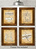 vintage airplane blueprint - Original Wright Brothers Patent Art Prints - Set of Four Photos (8x10) Unframed - Great Gift for Pilots