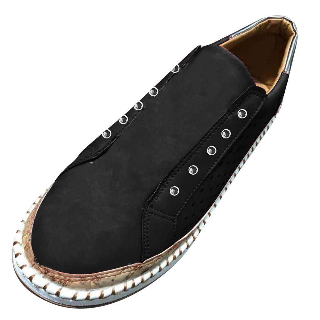 Sunyastor Sneakers for Women,New Casual Platform Hollow-Out Slip-on Faux Suede Breathable Round Toe Slip On Shoes Flat Black