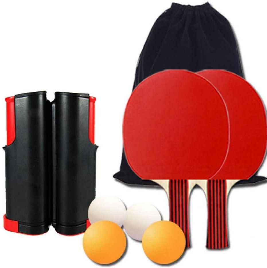 FTNJG Duradero Red de Tenis de Mesa retráctil Portátil Conjunto de Pingpong Set con 4 Bolas 2 Raquetas Bolsa De Almacenamiento Deportes Ejercer Ojos Y Capacidad De Respuesta